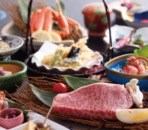 "Cuisine for Japanese style ""Mountain and sea"""
